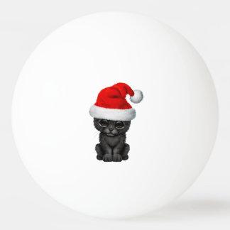 Bola Para Tênis De Mesa Pantera preta bonito Cub que veste um chapéu do