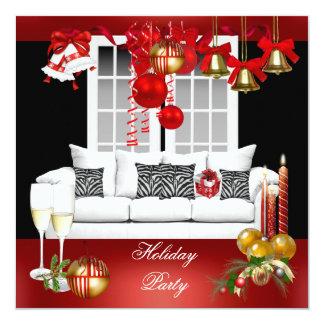 Bolas brancas vermelhas da festa natalícia convite quadrado 13.35 x 13.35cm