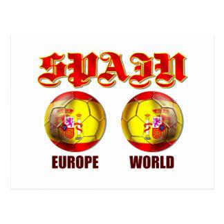Bolas de futebol espanholas da bandeira do mundo cartão postal