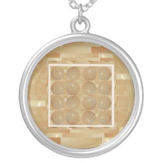 Bolas do mármore de ÔNIX - jóias douradas do trigo Colar Com Pendente Redondo