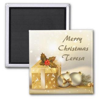 Bolas e presentes do Natal do ouro Ímã Quadrado