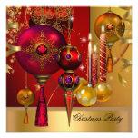 Bolas vermelhas do Xmas do ouro da festa natalícia Convites Personalizado