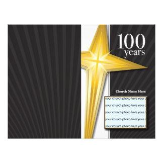 Boletim do aniversário da igreja de 100 anos panfletos personalizado