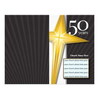 Boletim do aniversário da igreja de 50 anos panfleto coloridos