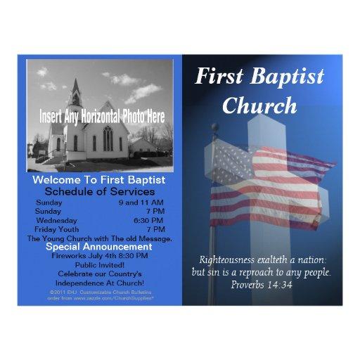 Boletim semanal customizável da igreja (patriótico papeis de carta personalizados