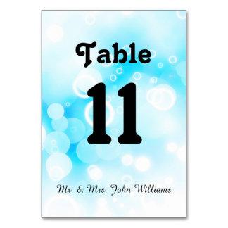 Bolhas azuis de Fantasty - cartão da mesa