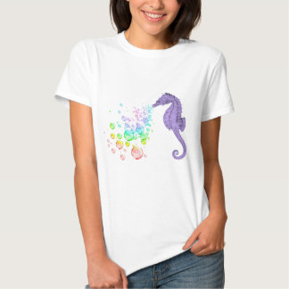bolhas de sopro do arco-íris do cavalo marinho tshirts