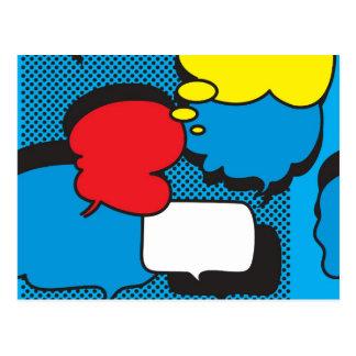 Bolhas do pensamento da banda desenhada cartão postal