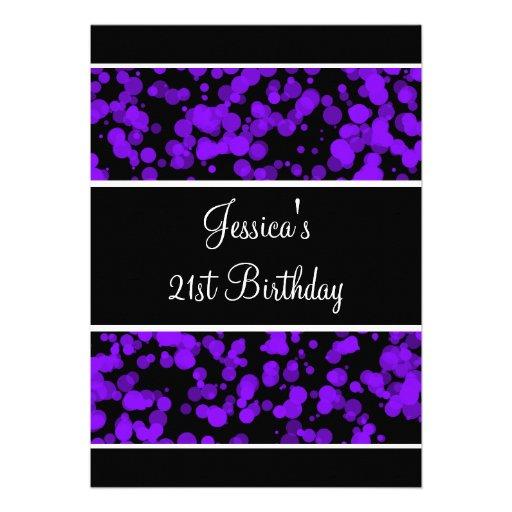 Bolhas roxas preto & branco da festa de aniversári convites personalizados