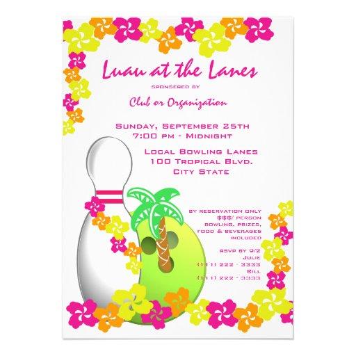 Boliche do tema de Luau Convite