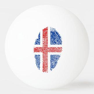 Bolinha De Ping Pong Bandeira islandêsa da impressão digital do toque