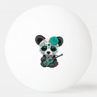 Bolinha De Ping Pong Panda azul do crânio do açúcar que joga a guitarra