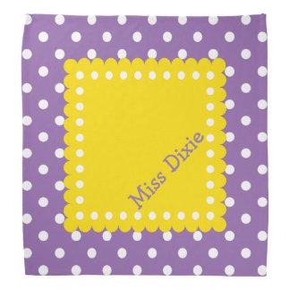 Bolinhas amarelas e brancas roxas personalizadas lenço
