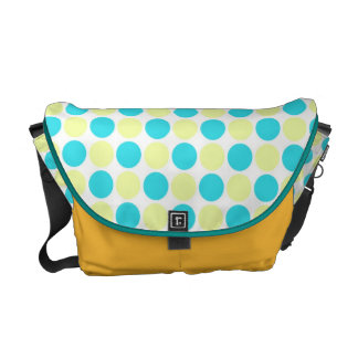 bolinhas azuis e amarelas bolsas mensageiro