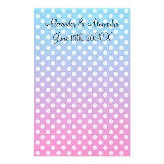 Bolinhas azuis e cor-de-rosa que wedding favores papeis personalizados