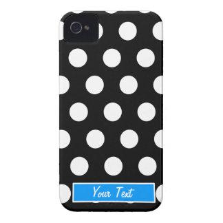 Bolinhas azuis pretas/brancas - personalize capa para iPhone 4 Case-Mate