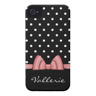 Bolinhas bonitos e capa de iphone 4 cor-de-rosa do