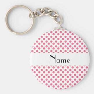 Bolinhas brancas e cor-de-rosa conhecidas personal chaveiro