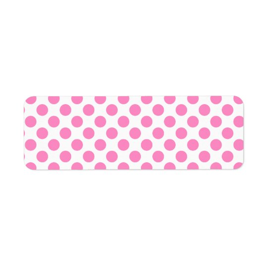 Bolinhas brancas e cor-de-rosa etiqueta endereço de retorno