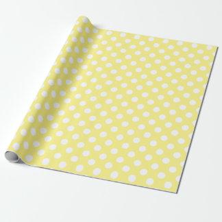 Bolinhas brancas no limão - amarelo papel de presente