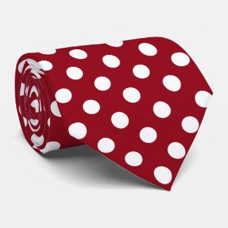 Bolinhas brancas no vermelho carmesim gravata