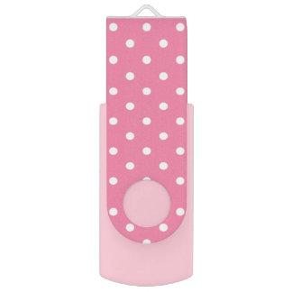 Bolinhas brancas pequenas no rosa quente pen drive