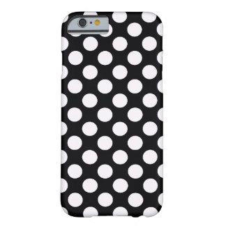 Bolinhas brancas pretas - caso do iPhone 6 Capa Barely There Para iPhone 6