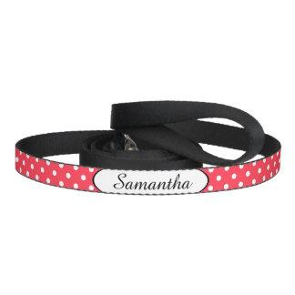 Bolinhas brancas vermelhas personalizadas coleira para cão