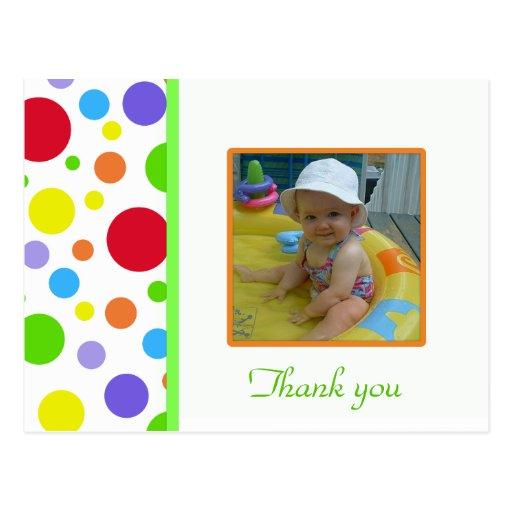 Bolinhas coloridas: Imagem: Cartões de agradecimen Cartão Postal