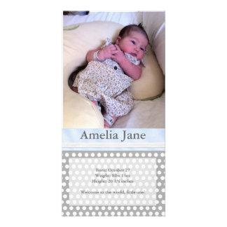 Bolinhas com fita - anúncio do nascimento cartão com foto
