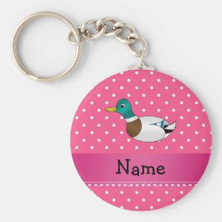 Bolinhas conhecidas personalizadas do rosa do pato chaveiro