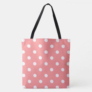 Bolinhas cor-de-rosa bolsa tote