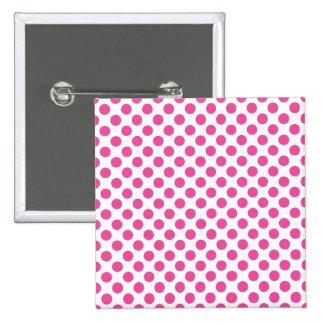 Bolinhas cor-de-rosa bóton quadrado 5.08cm