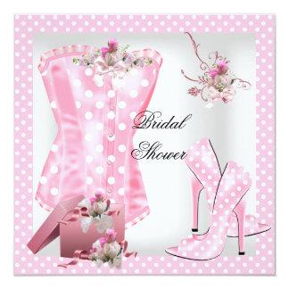 Bolinhas cor-de-rosa brancas do espartilho do chá convite quadrado 13.35 x 13.35cm