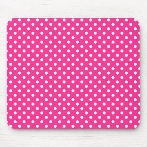 Bolinhas cor-de-rosa & brancas mouse pad