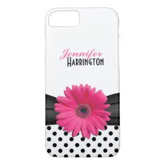 Bolinhas cor-de-rosa chiques da margarida do capa iPhone 7