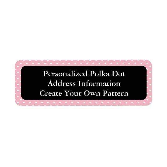 Bolinhas cor-de-rosa e brancas etiqueta endereço de retorno