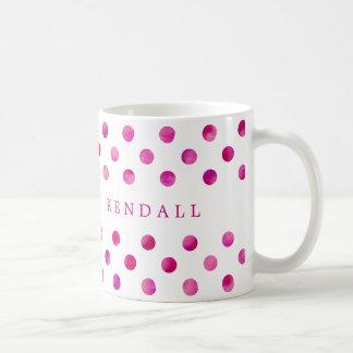 Bolinhas cor-de-rosa personalizadas da aguarela caneca de café