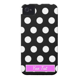 Bolinhas cor-de-rosa pretas/brancas - personalize capinha iPhone 4