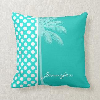 Bolinhas da cor do Aqua do verão Travesseiros De Decoração