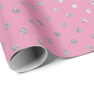 Bolinhas de prata cor-de-rosa delicadas Vip Papel De Presente