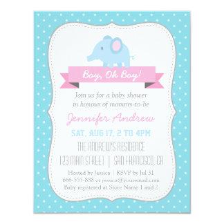 Bolinhas do azul do chá do bebé do elefante do convite 10.79 x 13.97cm
