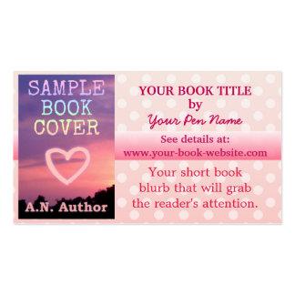 Bolinhas do branco do rosa da promoção do livro do cartão de visita