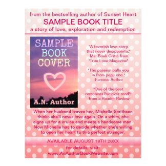 Bolinhas do branco do rosa da promoção do livro do panfleto