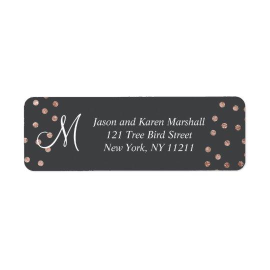 Bolinhas do ouro e etiquetas cor-de-rosa do preto etiqueta endereço de retorno