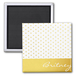 Bolinhas do ouro e monograma - costume ímã quadrado