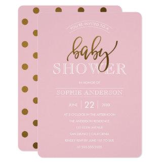 Bolinhas do ouro no chá de fraldas do rosa Pastel Convite 12.7 X 17.78cm