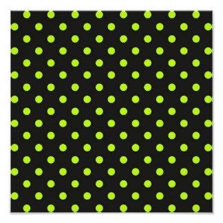 Bolinhas do preto e do verde limão impressão de foto
