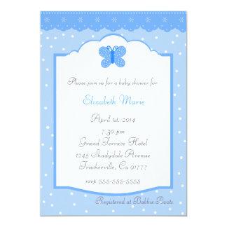 Bolinhas e chá de fraldas Borboleta-Azul Convite 12.7 X 17.78cm