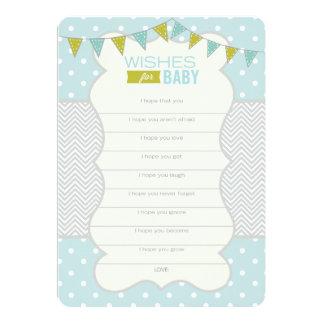 Bolinhas e Chevron - desejos para o cartão do bebê Convite 12.7 X 17.78cm